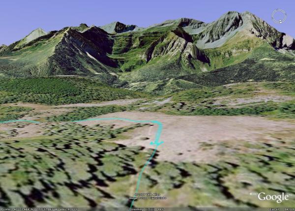 Google Earth view of Ridge Trail 157